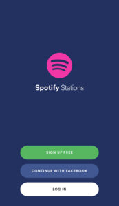 Spotify Stations App Login Screen