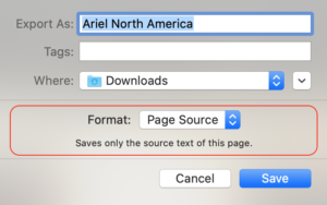 Saving Page with Safari Format One: Page Source
