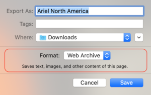 Saving Page with Safari Format Two: Web Archive